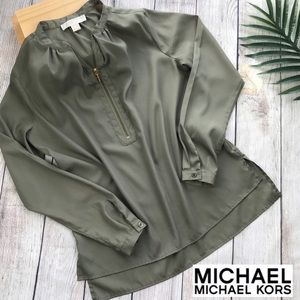 MOCHAEL M. Kors Olive Long Sleeve Blouse Sz 6